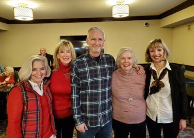 family members pose at holiday party