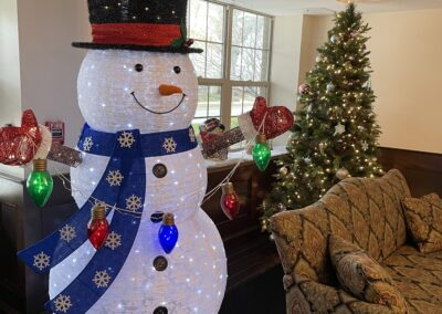 snowman decoration in sitting room
